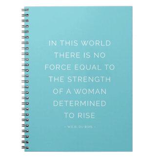 強さの女性の感動的な引用文のノートの青 ノートブック