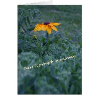 強さの孤独の黄色の花の引用文カード カード