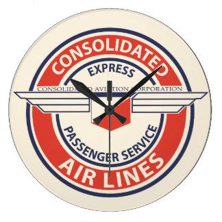 強化された航空会社のロゴの時計(LRGかSM) ラージ壁時計