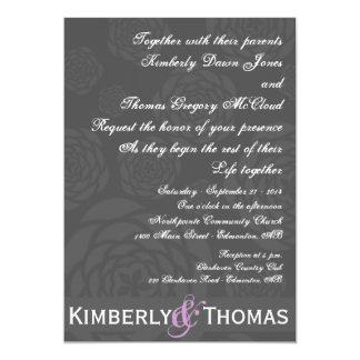強調色の招待の黒の木炭シャクヤク カード