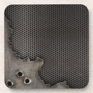 弾痕の背景が付いている金属 コースター