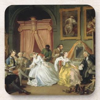 当世風の結婚: IV、Toilette、c.1743 (油 飲み物コースター
