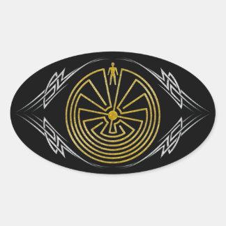 当惑-種族の金ゴールドの銀の人 楕円形シール
