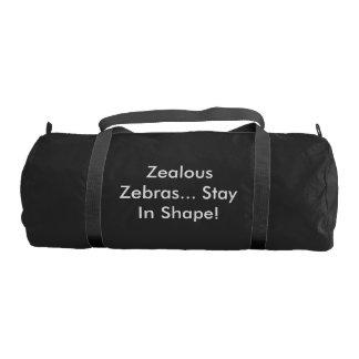 形の体育館のバッグの熱狂的なシマウマの滞在 ジムバッグ