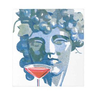 彫像およびワイングラス ノートパッド
