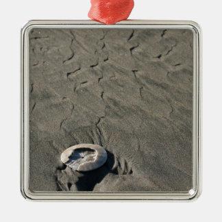 彫刻が施された砂及び貝 メタルオーナメント
