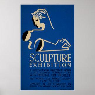 彫刻Ehibition仕事のヴィンテージWPAの調査 ポスター
