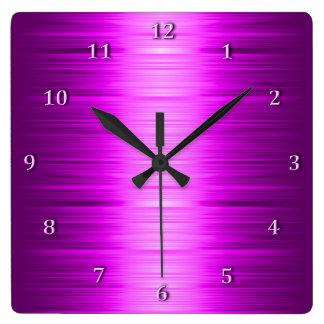 影で覆われた赤いラズベリーの紫色の正方形の柱時計 スクエア壁時計
