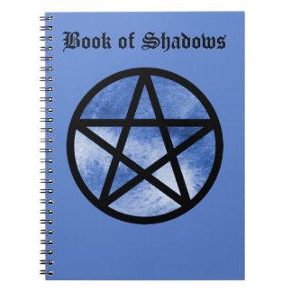 影のノートの青い星形五角形の本 ノートブック