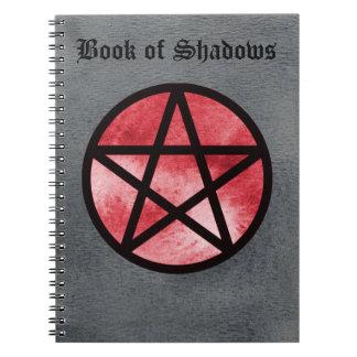 影のノート2の赤い星形五角形の本 ノートブック