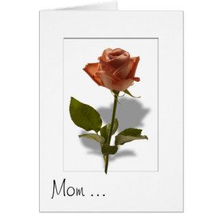 影を持つピンクのバラ カード