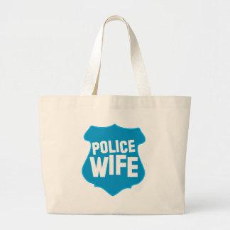 役人のバッジの盾を持つ警察の妻 ラージトートバッグ