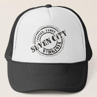 役人7都市スタンプ-黒いロゴ キャップ
