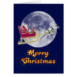 彼のそりのサンタとのメリークリスマス カード