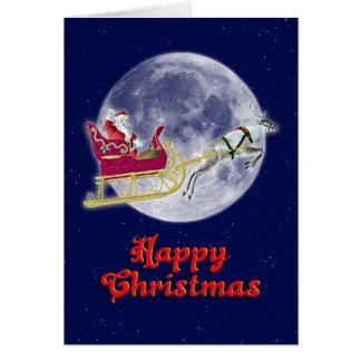 彼のそりのサンタとの楽しいクリスマス カード