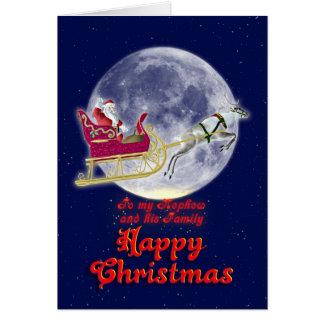 彼のそりのサンタを持つメリークリスマスの甥 カード