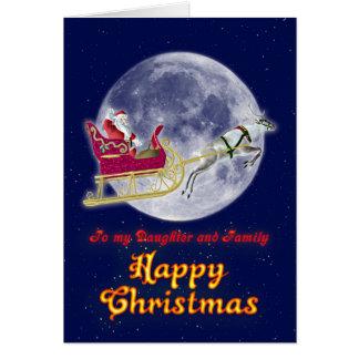 彼のそりのメリークリスマスの娘サンタ カード