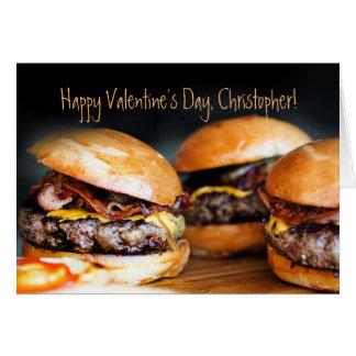 彼のためのハンバーガーのバレンタインデーカード、 カード