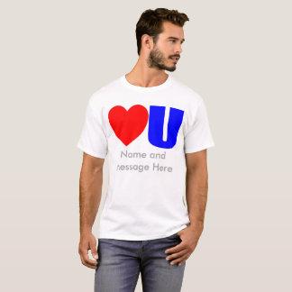 彼のためのメッセージのTシャツ愛して下さい Tシャツ