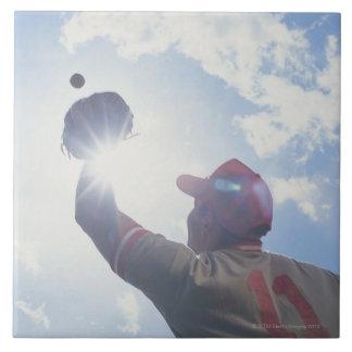彼のの太陽が付いている野球選手の伝染性の球 タイル