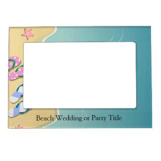 彼のまたは彼女の物ビーチ結婚式のビーチサンダル マグネットフレーム