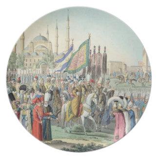 彼のイェニチェリを(engr見直しているトルコのサルタン プレート