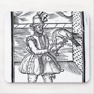 彼のオオタカを持つファルコナー マウスパッド