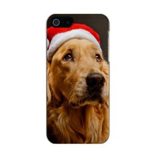 彼のクリスマスのために提起しているゴールデン・リトリーバー メタリックiPhone SE/5/5sケース