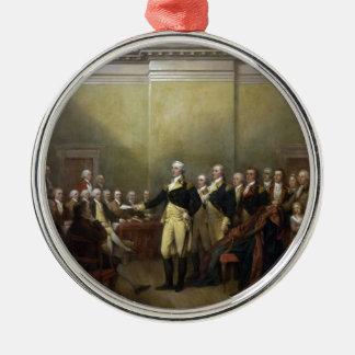 彼の任務を辞職しているジョージ・ワシントン概要 メタルオーナメント