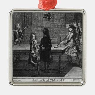 彼の兄弟が付いているルイ14世遊ぶビリヤード シルバーカラー正方形オーナメント