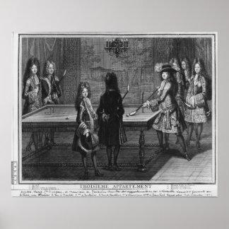 彼の兄弟が付いているルイ14世遊ぶビリヤード ポスター