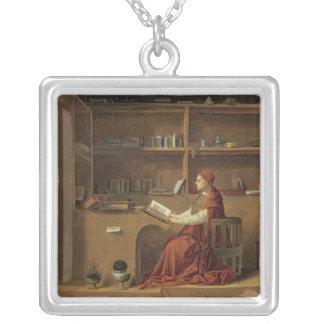 彼の勉強のSt Jerome、c.1475 2 シルバープレートネックレス