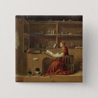 彼の勉強のSt Jerome、c.1475 2 5.1cm 正方形バッジ
