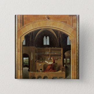 彼の勉強のSt Jerome、c.1475 5.1cm 正方形バッジ