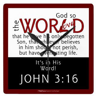 彼の単語ジョンの3:16の聖なる書物、経典 スクエア壁時計