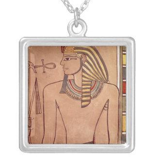彼の唇に上がるankhとのAmenhotep II シルバープレートネックレス