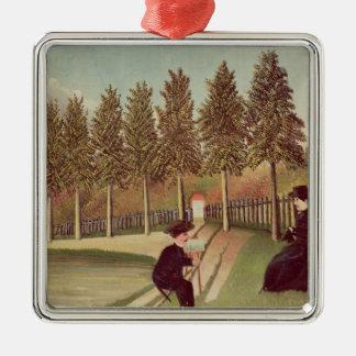彼の妻1900-05年を絵を描いている芸術家 メタルオーナメント