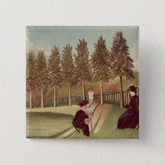 彼の妻1900-05年を絵を描いている芸術家 5.1CM 正方形バッジ
