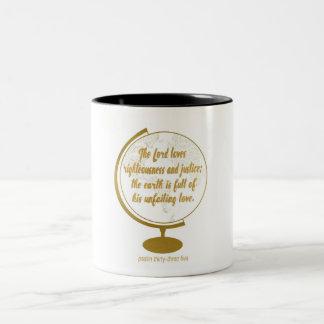 彼の常に変わらない愛、金ゴールドの地球十分に ツートーンマグカップ