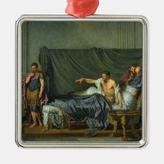彼の息子を譴責する皇帝Severus シルバーカラー正方形オーナメント