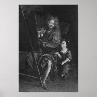 彼の息子チャールズとの自画像 ポスター