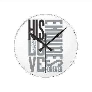 彼の愛は永久に耐えます ラウンド壁時計