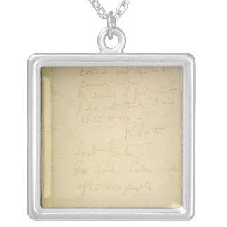 彼の日記、南極大陸の最後のページ シルバープレートネックレス