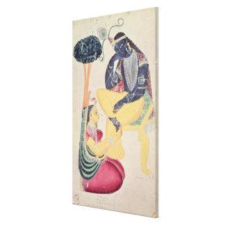 彼の死を免れない愛の神Krishna、Radha キャンバスプリント