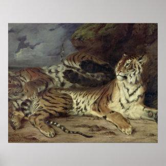 彼の母と遊んでいる若いトラ1830年(油 ポスター