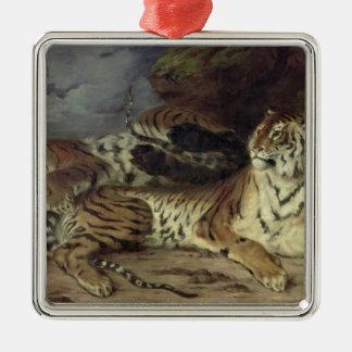 彼の母と遊んでいる若いトラ1830年(油 メタルオーナメント
