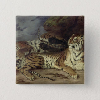 彼の母と遊んでいる若いトラ1830年(油 5.1CM 正方形バッジ