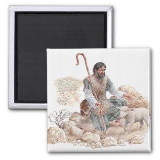 彼の無くなったヒツジを見つけている羊飼いのイラストレーション マグネット