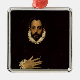彼の箱の彼の手を搭載する紳士、c.1580 メタルオーナメント