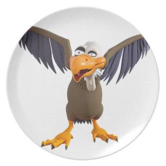 彼の翼との漫画のBuzzardの歩く プレート